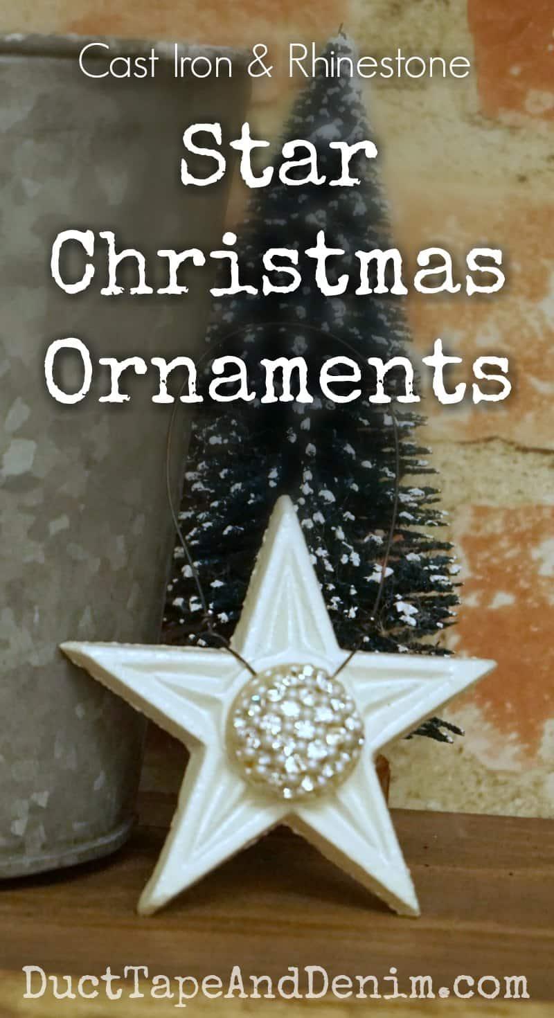 Cast iron and vintage rhinestone star ornaments. More Christmas tutorials on DuctTapeAndDenim.com