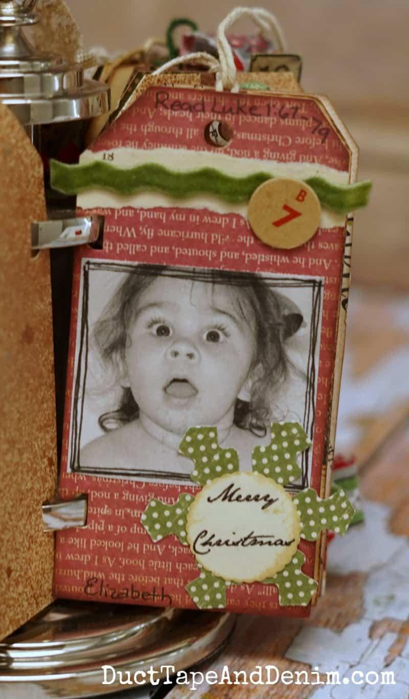 Close up of my niece on family Advent calendar, Christmas DIY craft | DuctTapeAndDenim.com