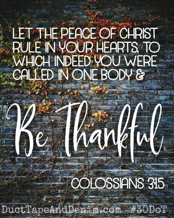 Colossians 3 15 - Be thankful. Celebrate the 30 Days of Thanksgiving with us on DuctTapeAndDenim.com