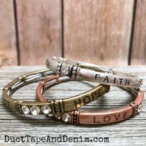 Faith Hope Love set of 3 mixed metal silver brass copper colored stretch bangle cuff bracelets | DuctTapeAndDenim.com