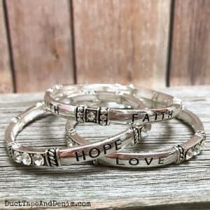 Faith Hope Love Bracelet - set of 3 silver stretch bangle cuff bracelets | DuctTapeAndDenim.com