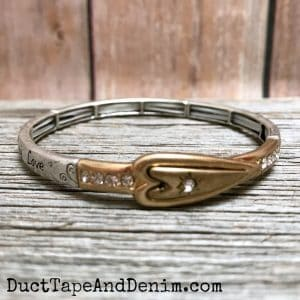 Heart Bracelet with Faith Hope Love, stretch bangle cuff | DuctTapeAndDenim.com