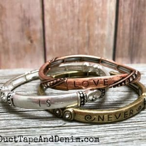 Love is Patient set of 3 mixed metal stretch bangle cuff bracelets on DuctTapeAndDenim.com