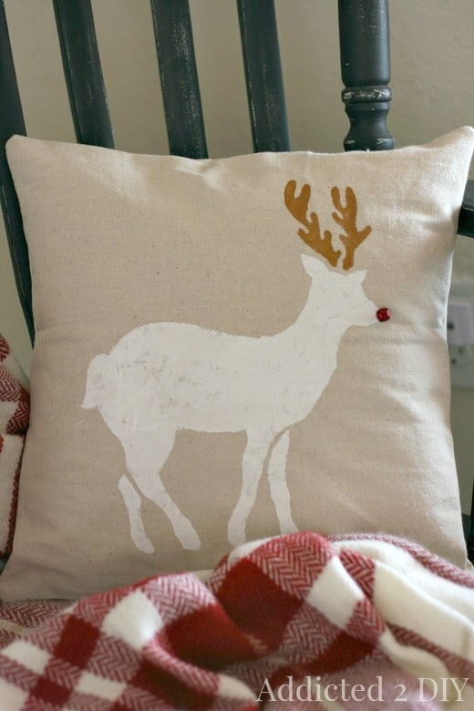 Reindeer stencil Christmas pillow