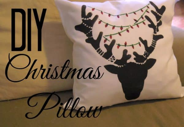 Reindeer stenciled Christmas pillow