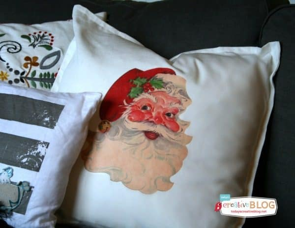 Santa-Iron-On-Transfer-Pillow