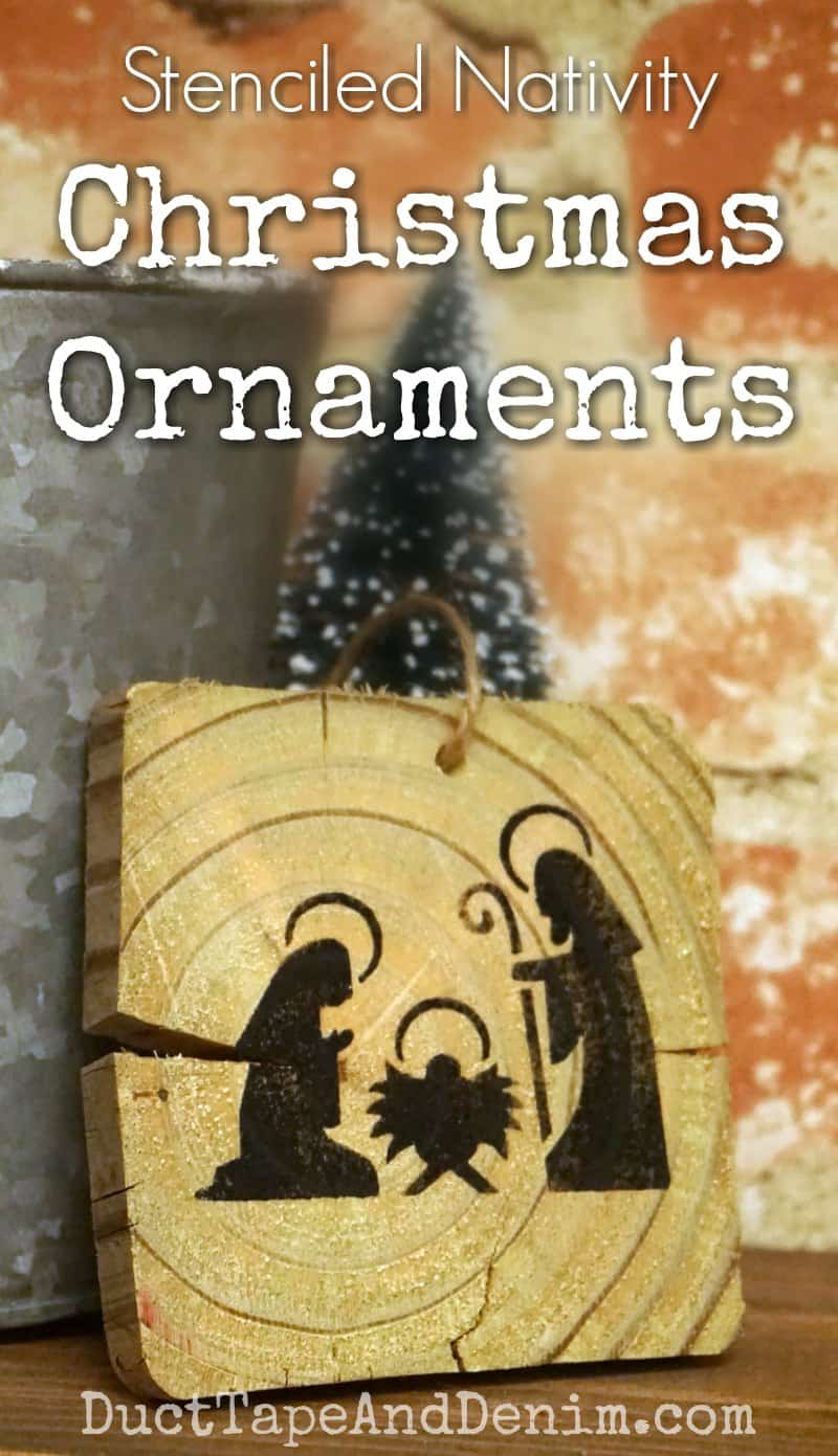 Stenciled nativity ornaments on old wood pieces. More Christmas tutorials on DuctTapeAndDenim.com