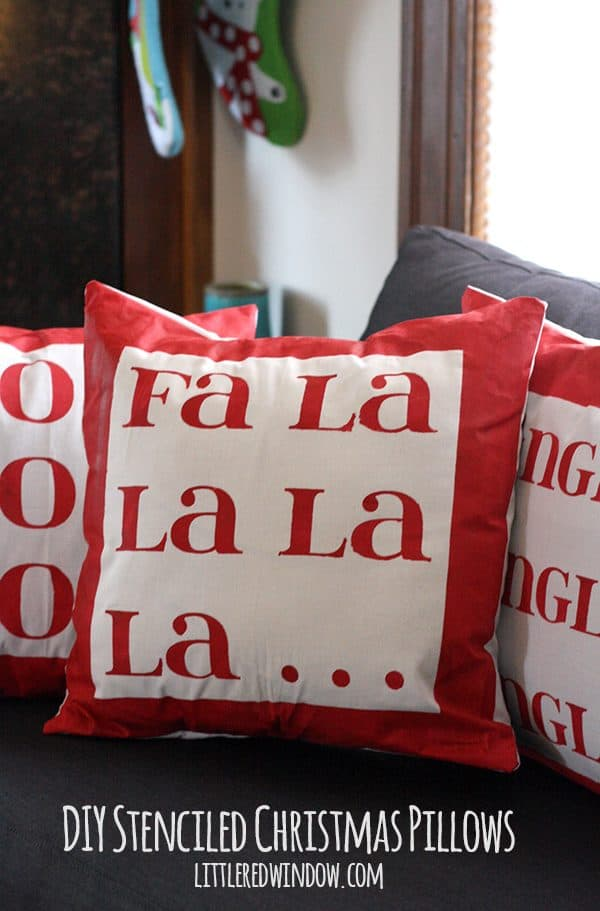 diy stenciled christmas pillows