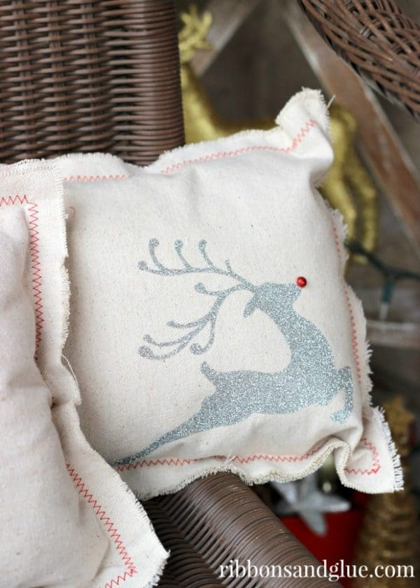 drop cloth pillows with glitter reindeer