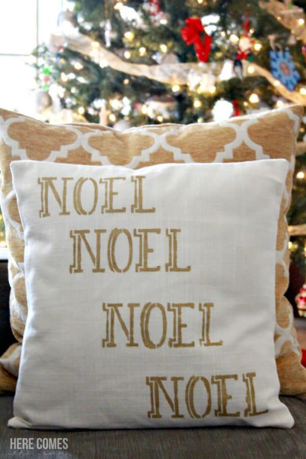 noel stenciled pillow