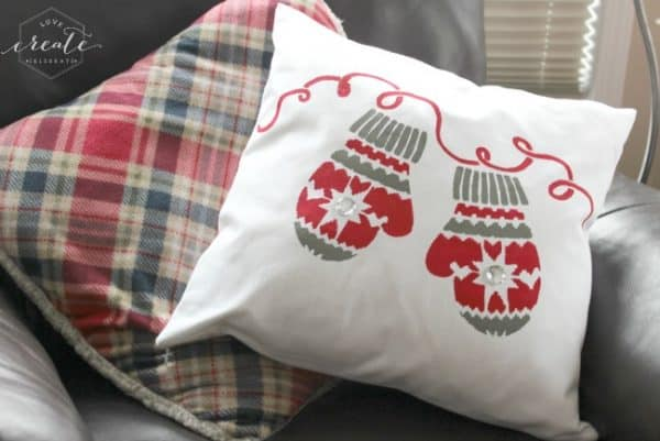stenciled mitten-pillow