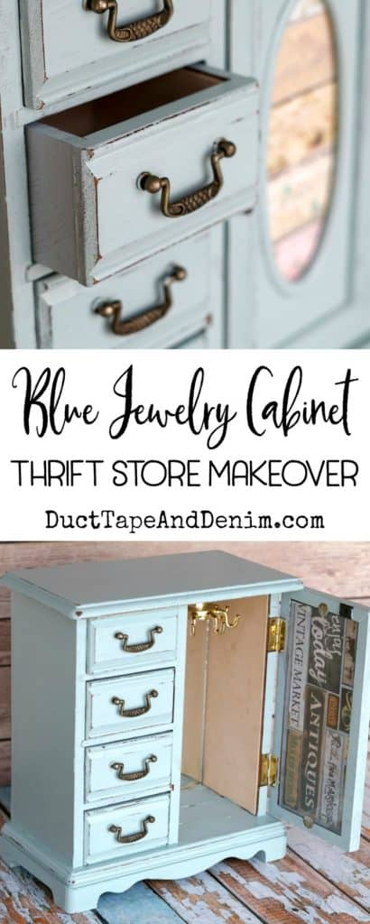 Blue jewelry cabinet, thrift store makeover on DuctTapeAndDenim.com