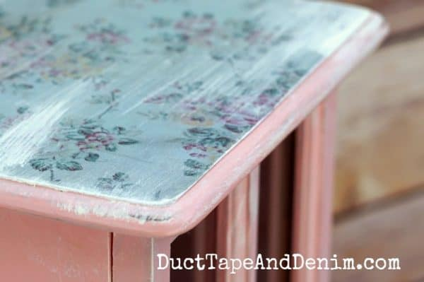 Close up of decoupage top on jewelry cabinet | DuctTapeAndDenim.com