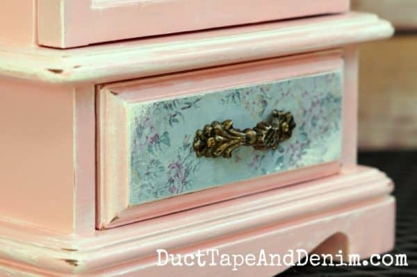 Close up of drawer on thrift store makeover, jewelry cabinet | DuctTapeAndDenim.com