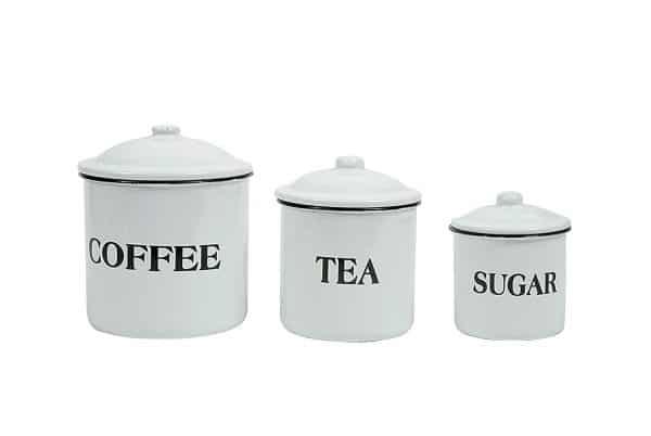 Coffee Tea Sugar Enamel Cannister set & more farmhouse kitchen decor ideas on DuctTapeAndDenim.com