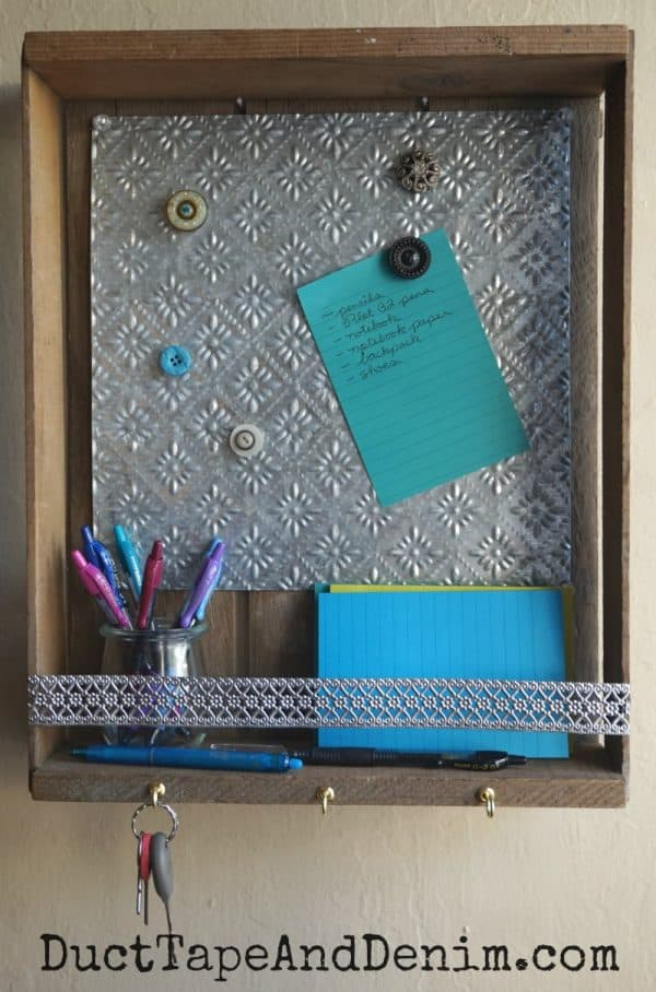 DIY family message center with magnet board, upcycled wooden box | DuctTapeAndDenim.com