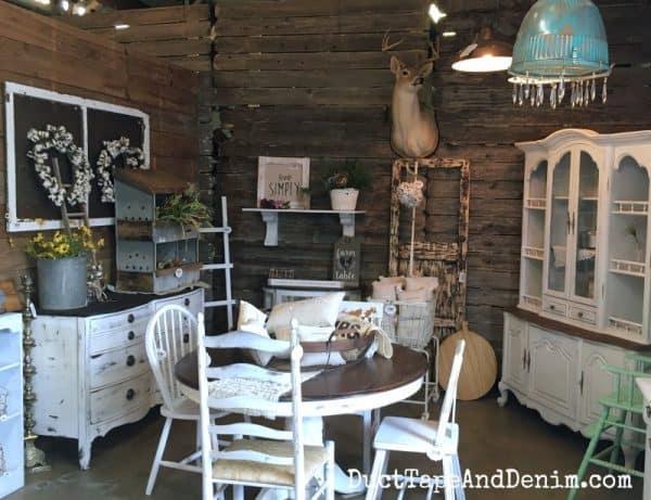 Farmhouse dining room in Shades of Shabby, Waco vintage shop | DuctTapeAndDenim.com