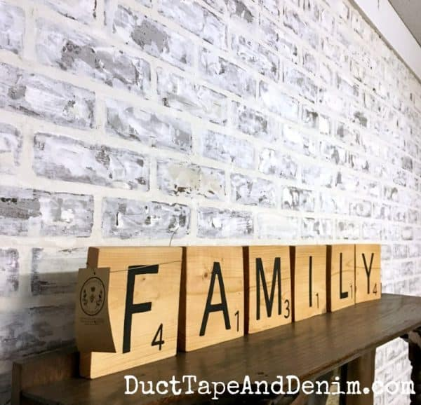 Faux brick wall in High Cottom Emporium | DuctTapeAndDenim.com