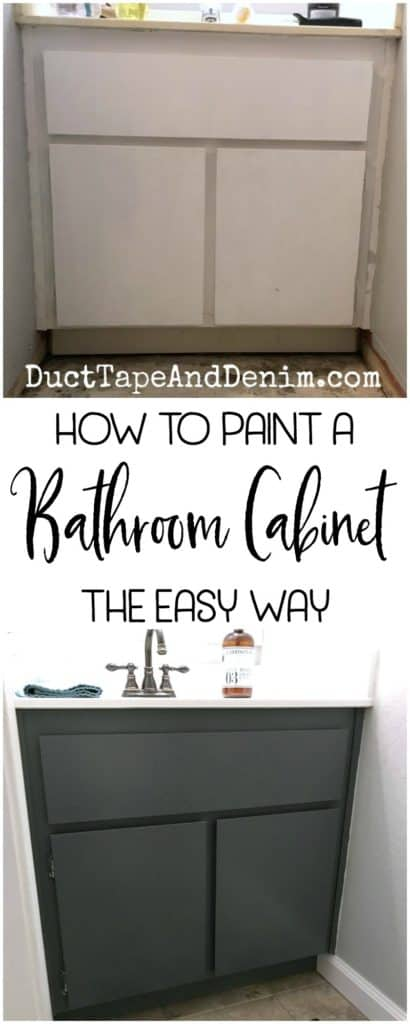 How to paint a bathroom cabinet the easy way. My small powder room makeover. DuctTapeAndDenim.com