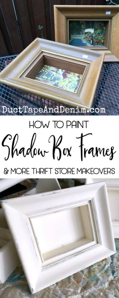 How to paint shadow box frames. More DIY thrift store makeovers on DuctTapeAndDenim.com