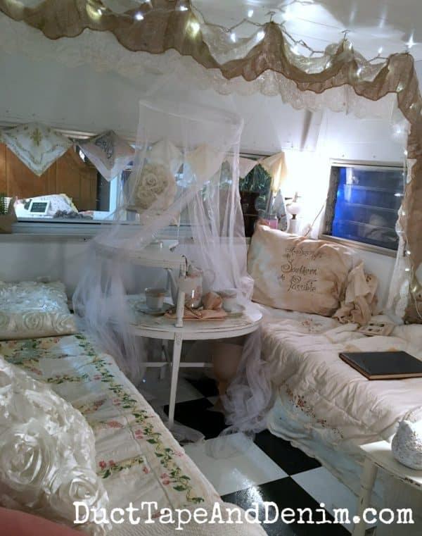 Inside vintage camper, Shades of Shabby, Waco vintage shop | DuctTapeAndDenim.com