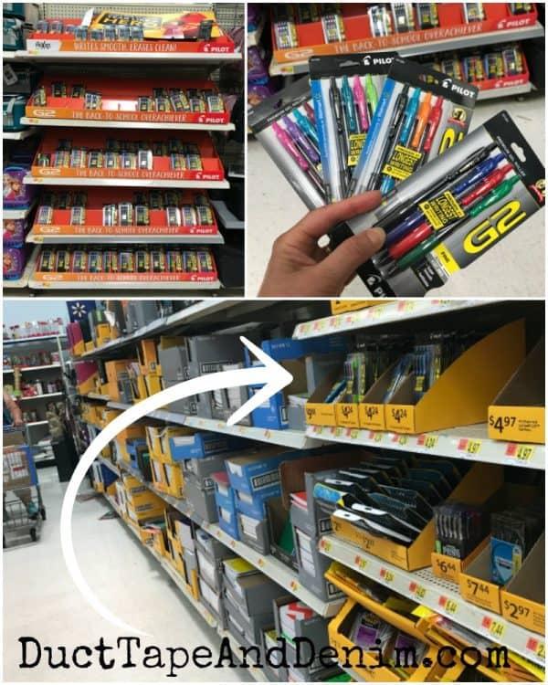 Pilot G2 pens in the school supply aisle at Walmart | DuctTapeAndDenim.com
