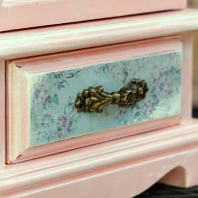 Tall Pink Jewelry Cabinet Makeover with Paint & Paper