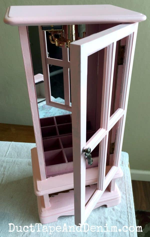 Pink jewelry cabinet makeover | DuctTapeAndDenim.com