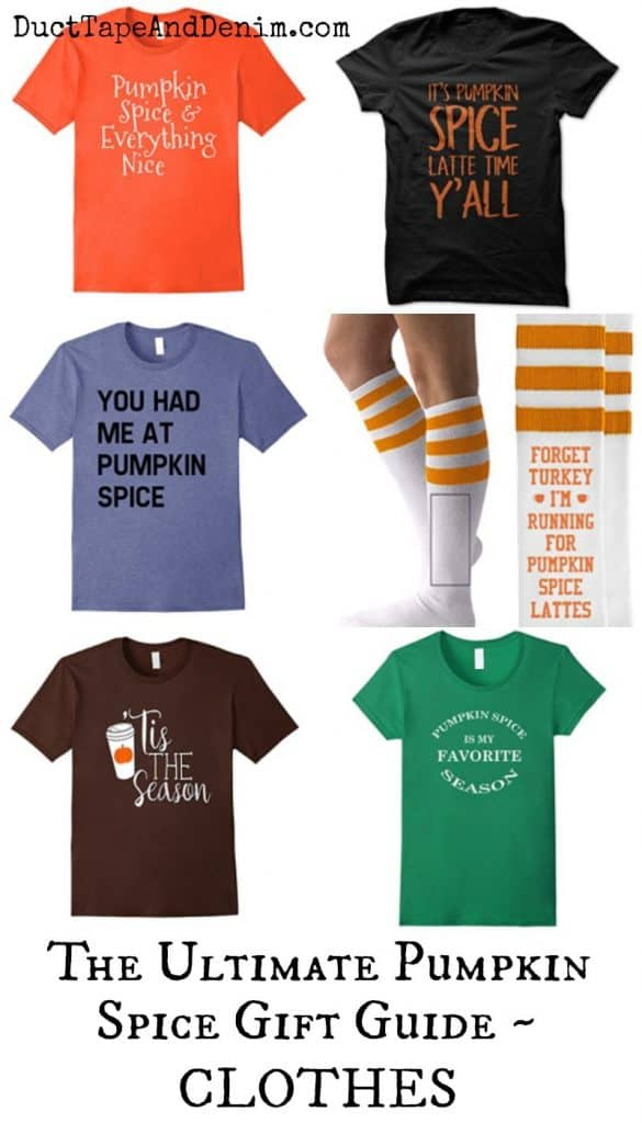 Utimate Pumpkin Spice Gift Guide - clothes - t-shirts, socks, shoes, pants, and more on DuctTapeAndDenim.com