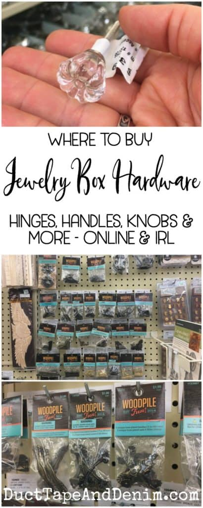 Where to buy jewelry box and jewelry cabinet hardware, hinges, handles, knobs and more, online and in real life | DuctTapeAndDenim.com