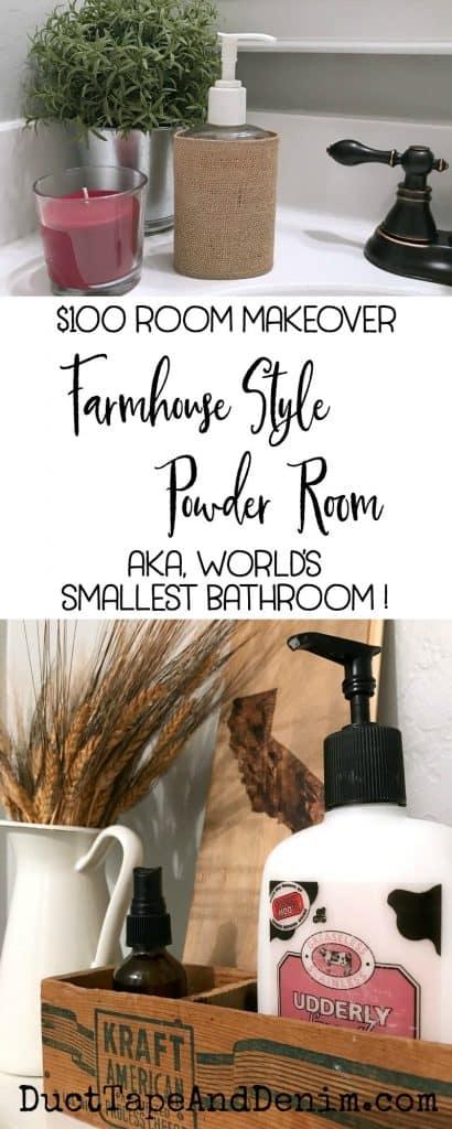 $100 Room Makeover Challenge, my farmhouse style powder room, aka, The World's Smallest Bathroom