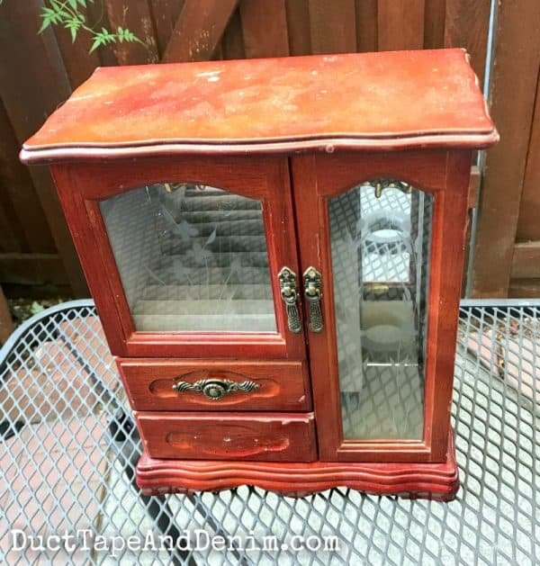 BEFORE - painting and decoupaging my thrift store jewelry cabinet makeover | DuctTapeAndDenim.com