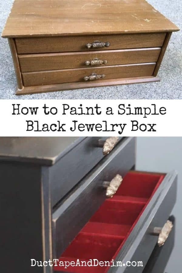 how to paint a black jewelry box, collage