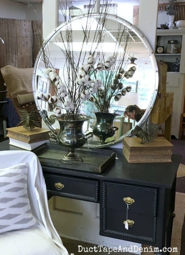 Beautiful black desk and vintage mirror, cotton stems, silver in Shabby La Chic La Grange, girls shopping day in Waco | DuctTapeAndDenim.com
