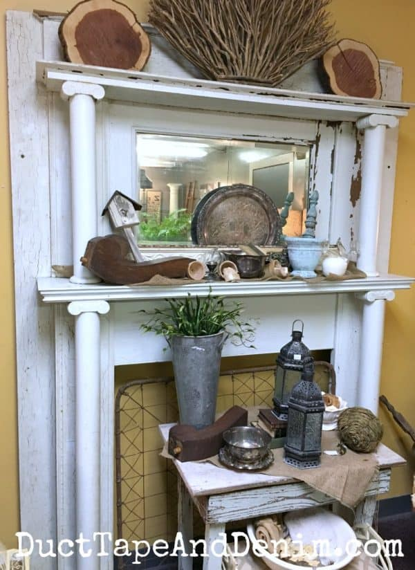 Beautiful vintage fireplace mantel at Shabby LaChic, vintage shopping in Waco Texas | DuctTapeAndDenim.com