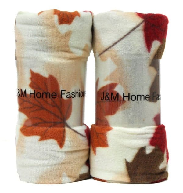 Fall leaf fleece throw blanket