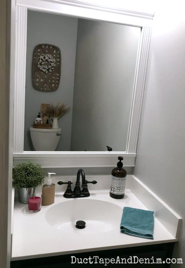 Finished powder room, small farmhouse style bathroom makeover | DuctTapeAndDenim.com