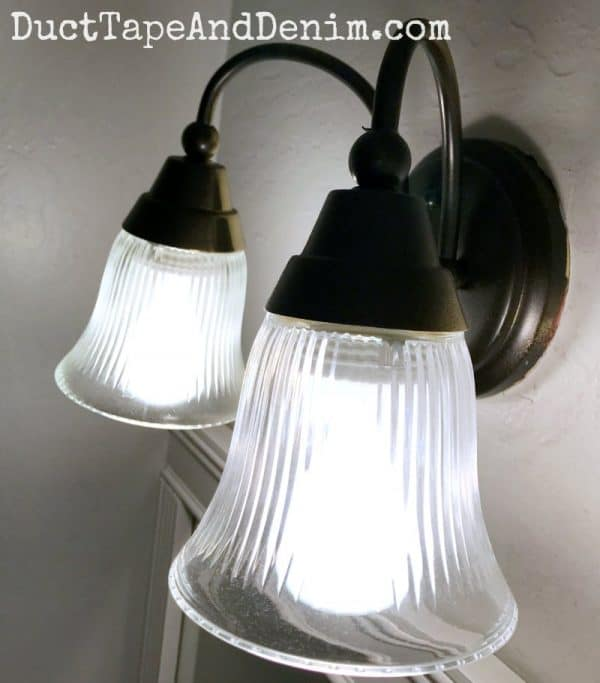 Finished spray painted light fixtures | DuctTapeAndDenim.com