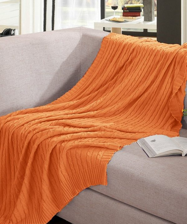 Orange cotton cable knit throw blanket