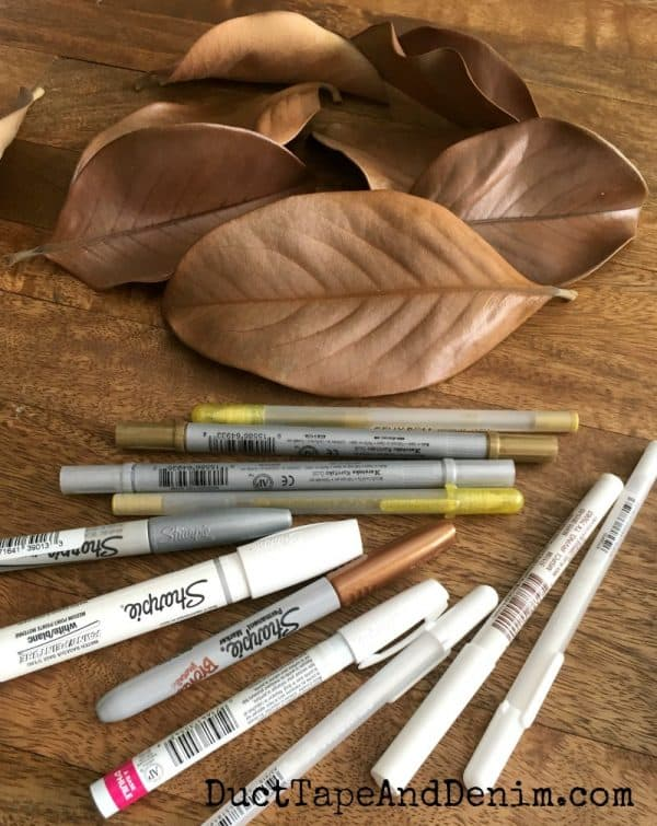 Supplies for hand lettering magnolia leaves | DuctTapeAndDenim.com