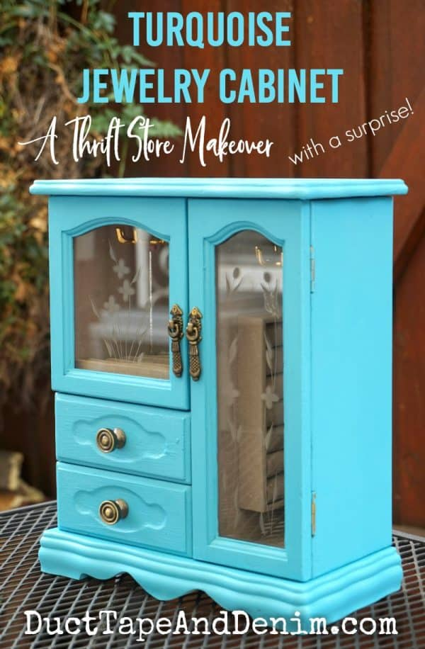 Turquoise jewelry cabinet, a thrift store makeover with a surprise ikat decoupage paper | DuctTapeAndDenim.com