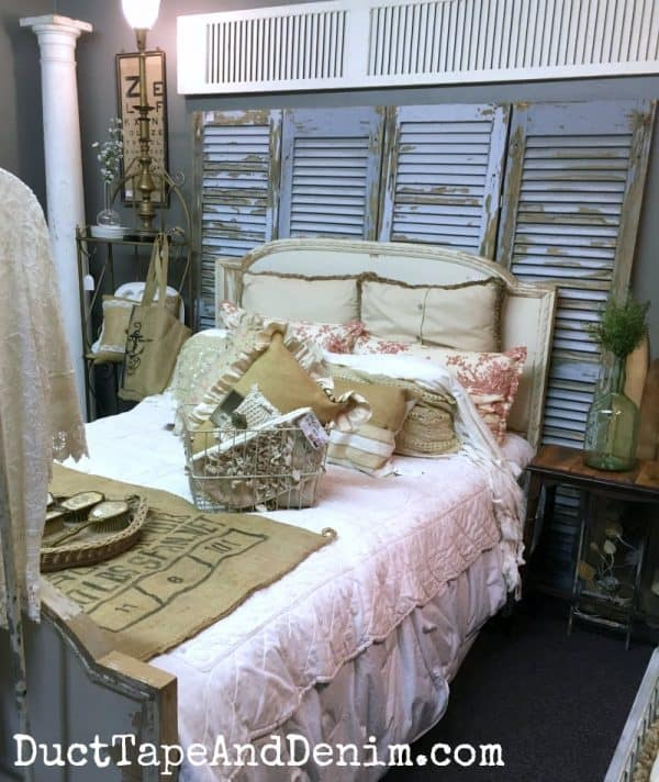 Vintage bedroom vignette in Shabby la Chic, shopping in Waco | DuctTapeAndDenim.com