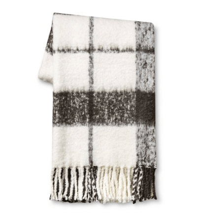 black and white plaid throw blanket
