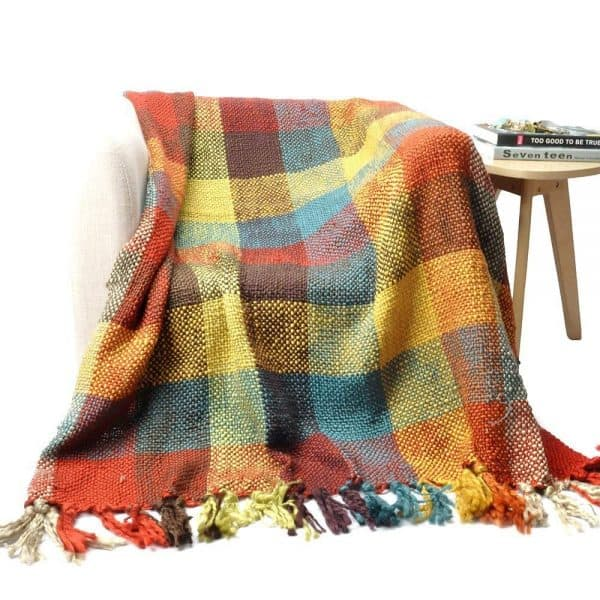 colorful woven throw blanket with tassels from amazon