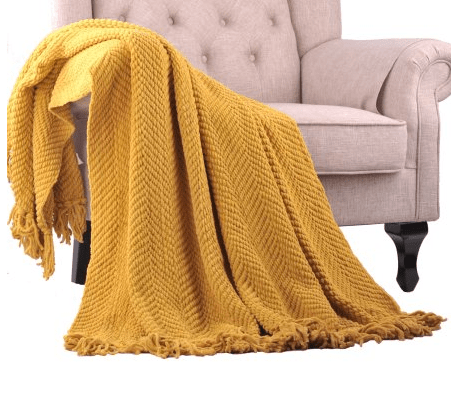 golden yellow knit throw blanket