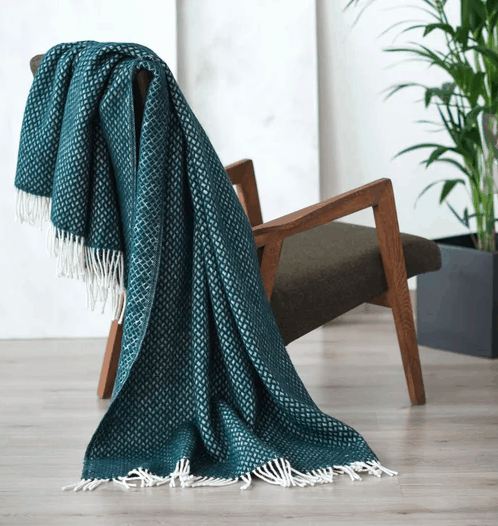 green woven throw