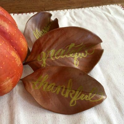 DIY Hand Lettered Magnolia Leaf Centerpiece