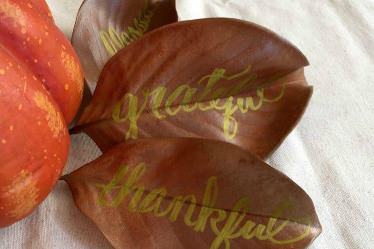 metallic hand lettered magnolia leaves SQUARE
