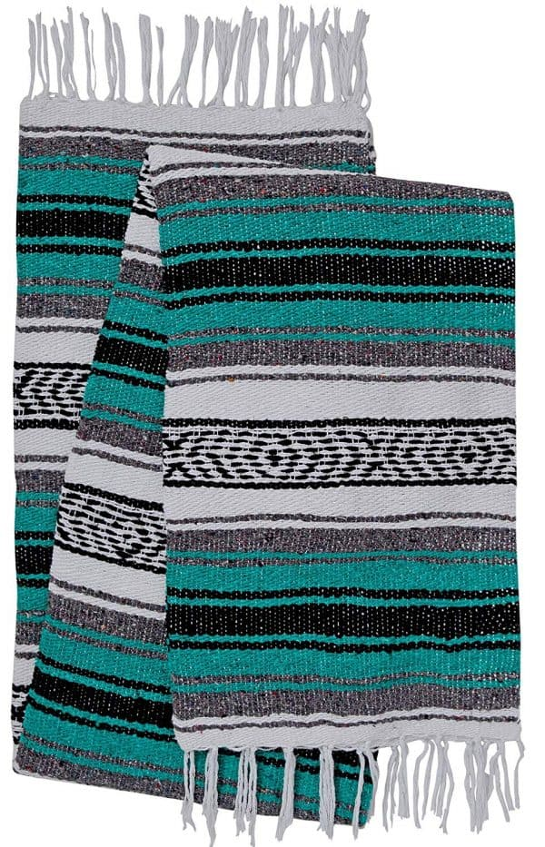 mexican serape teal throw blanket