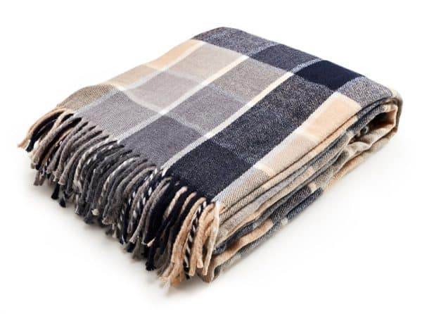 navy blue plaid throw blanket